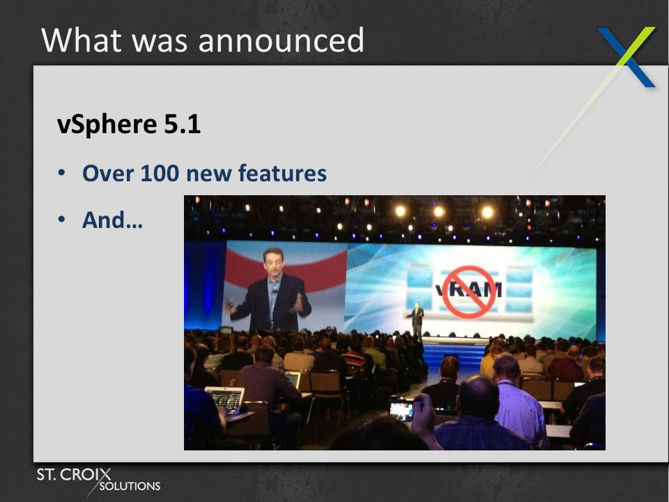 What was announced vSphere 5.1 Over 100 new features And…