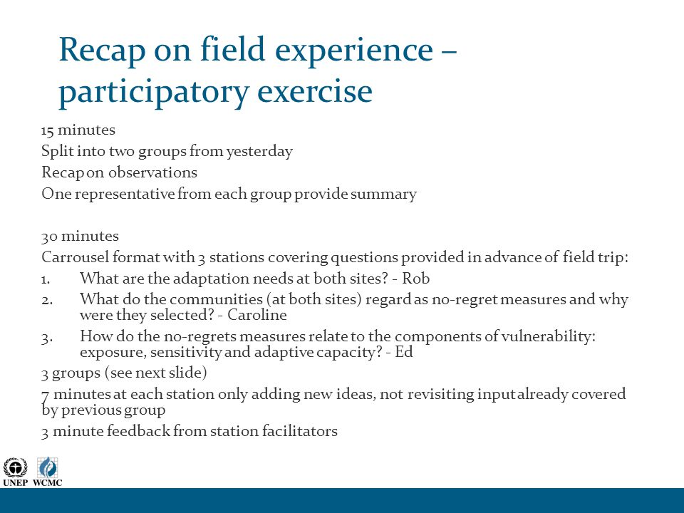Recap on field experience – participatory exercise 15 minutes Split into two groups from yesterday Recap on observations One representative from each