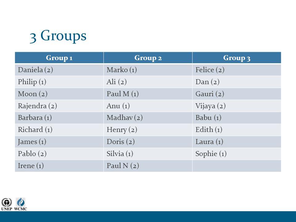 3 Groups Group 1Group 2Group 3 Daniela (2)Marko (1)Felice (2) Philip (1)Ali (2)Dan (2) Moon (2)Paul M (1)Gauri (2) Rajendra (2)Anu (1)Vijaya (2) Barbara (1)Madhav (2)Babu (1) Richard (1)Henry (2)Edith (1) James (1)Doris (2)Laura (1) Pablo (2)Silvia (1)Sophie (1) Irene (1)Paul N (2)