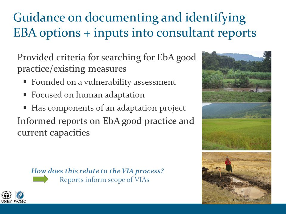 Guidance on documenting and identifying EBA options + inputs into consultant reports Provided criteria for searching for EbA good practice/existing measures  Founded on a vulnerability assessment  Focused on human adaptation  Has components of an adaptation project Informed reports on EbA good practice and current capacities How does this relate to the VIA process.