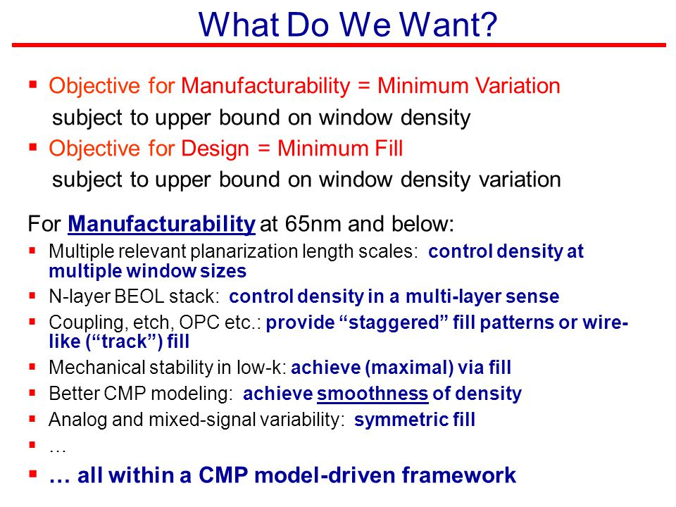 What Do We Want?  Objective for Manufacturability = Minimum Variation subject to upper bound on window density  Objective for Design = Minimum Fill
