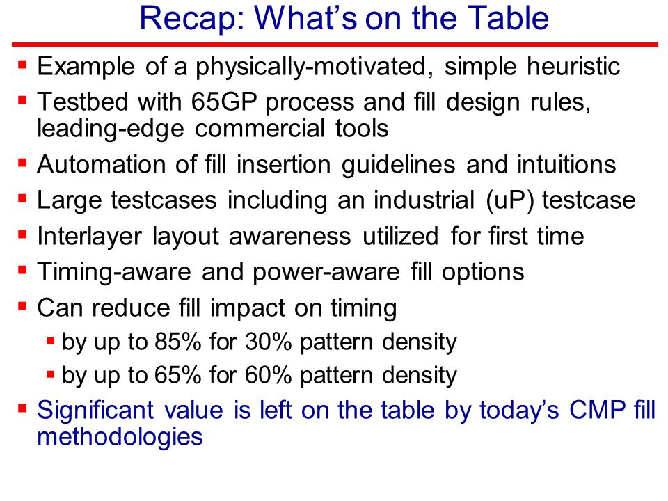 Recap: What's on the Table  Example of a physically-motivated, simple heuristic  Testbed with 65GP process and fill design rules, leading-edge comme