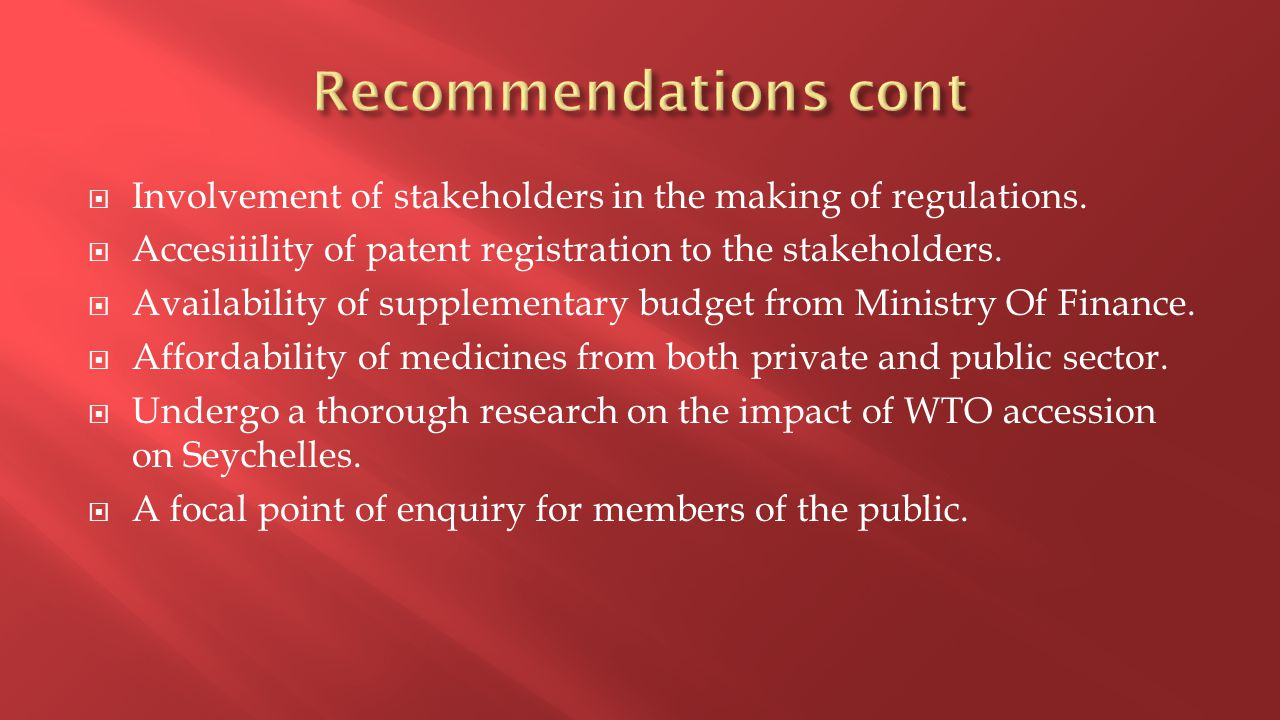  Involvement of stakeholders in the making of regulations.