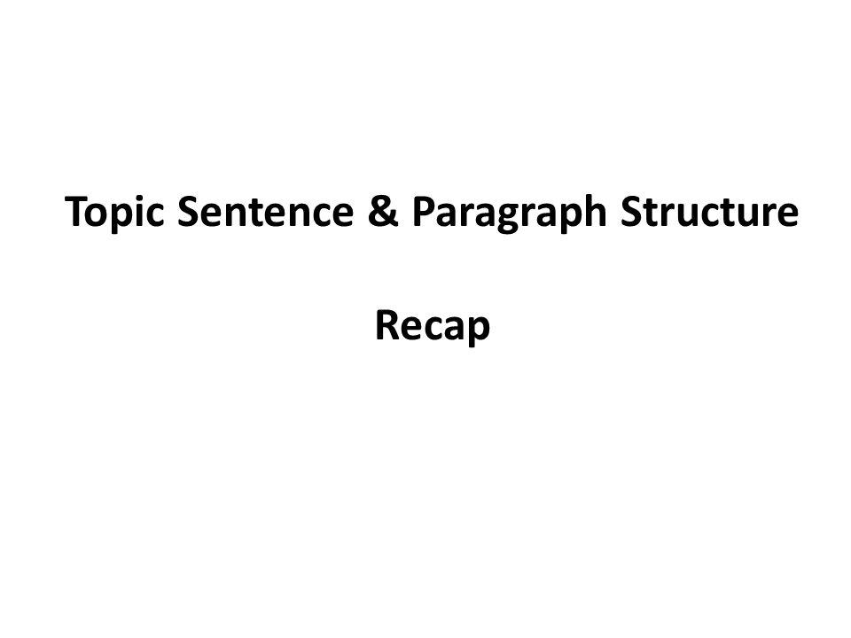 Topic Sentence & Paragraph Structure Recap