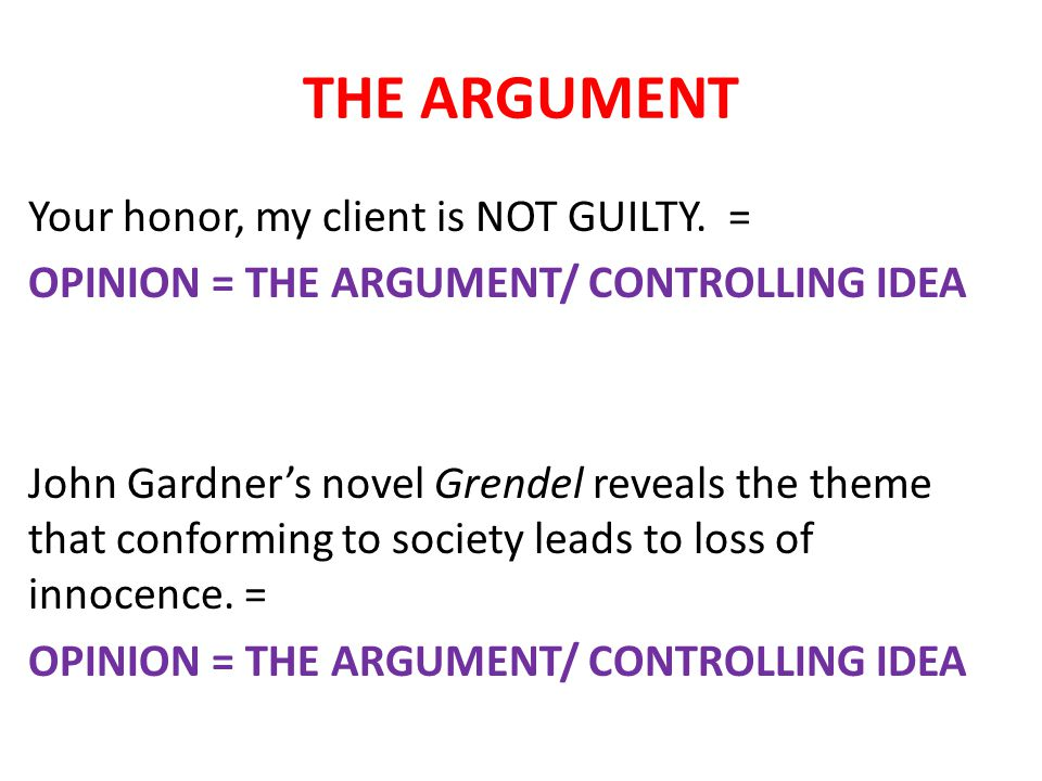 THE ARGUMENT Your honor, my client is NOT GUILTY.
