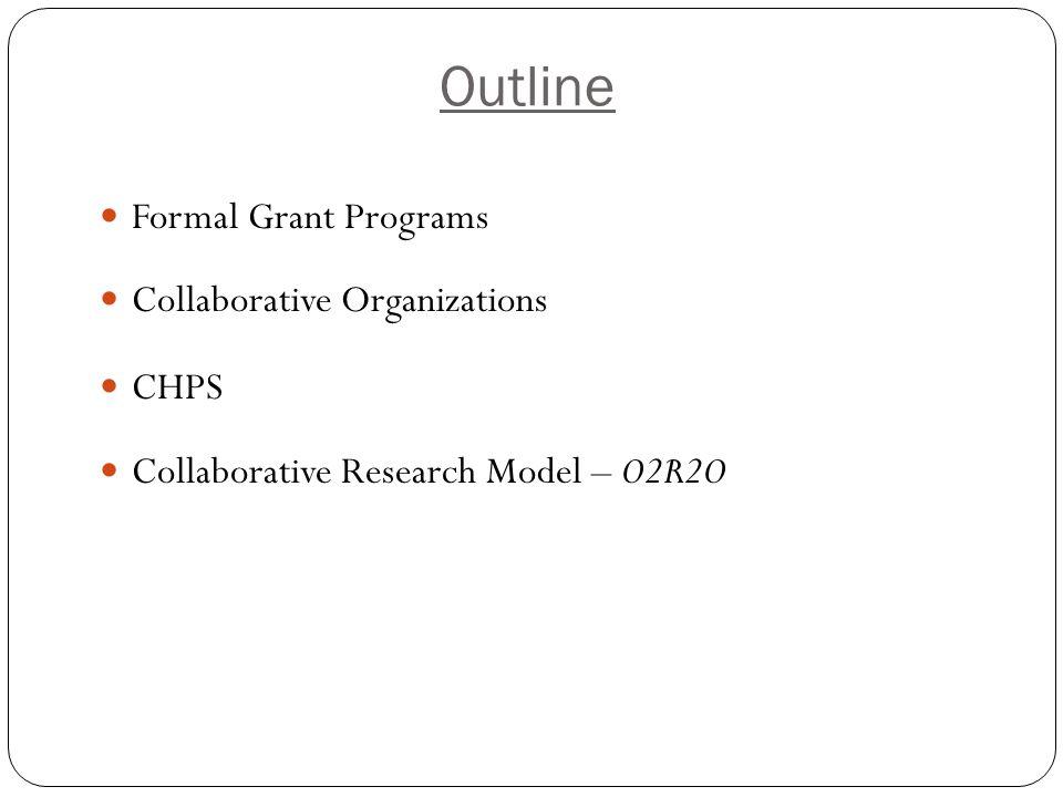 Outline Formal Grant Programs Collaborative Organizations CHPS Collaborative Research Model – O2R2O