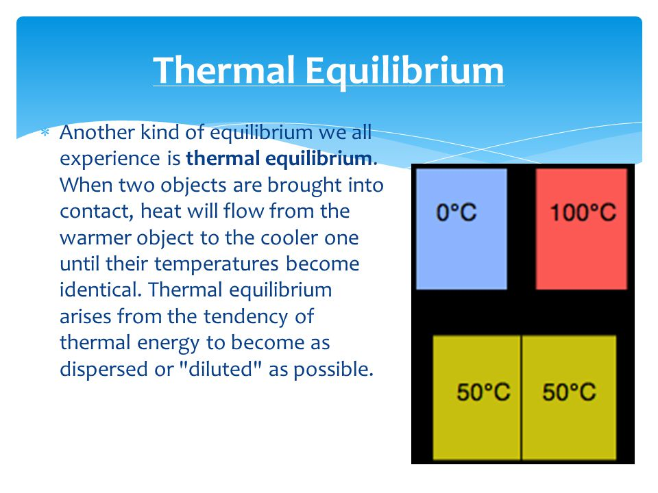  Another kind of equilibrium we all experience is thermal equilibrium.