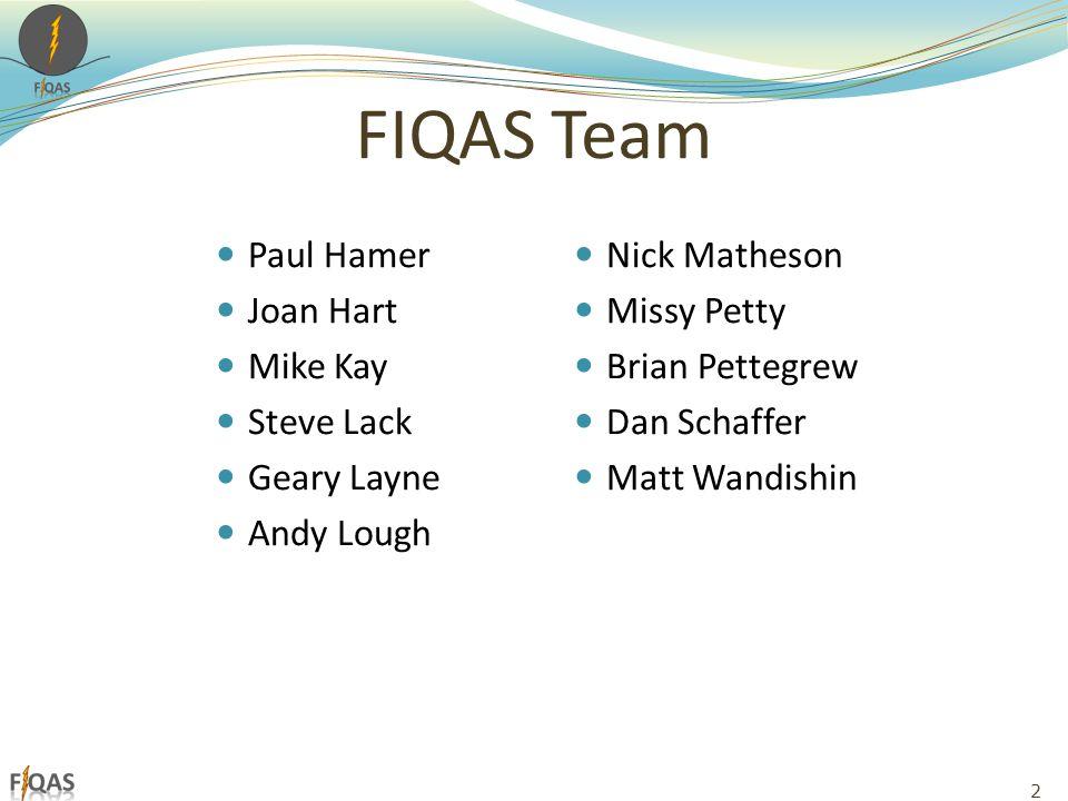 FIQAS Team Paul Hamer Joan Hart Mike Kay Steve Lack Geary Layne Andy Lough Nick Matheson Missy Petty Brian Pettegrew Dan Schaffer Matt Wandishin 2