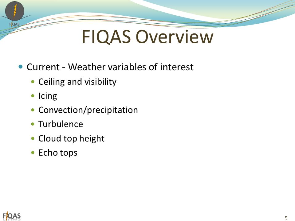 FIQAS Overview Current - Weather variables of interest Ceiling and visibility Icing Convection/precipitation Turbulence Cloud top height Echo tops 5