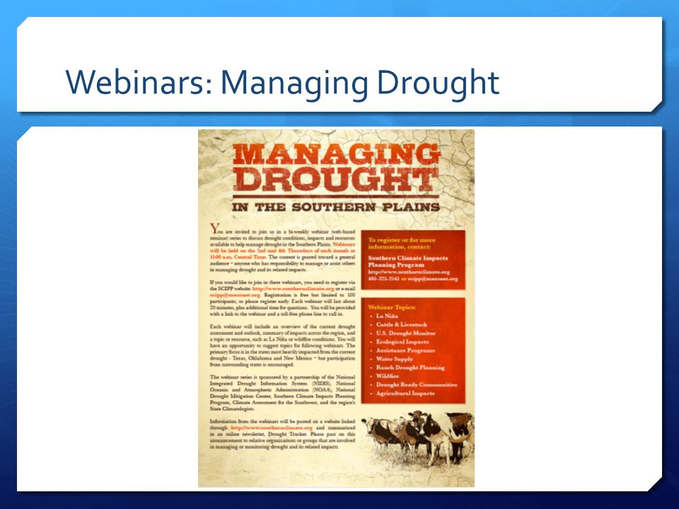 Webinars: Managing Drought