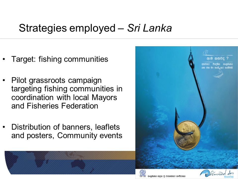 Strategies employed – Sri Lanka Target: fishing communities Pilot grassroots campaign targeting fishing communities in coordination with local Mayors and Fisheries Federation Distribution of banners, leaflets and posters, Community events