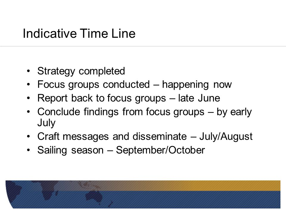 Indicative Time Line Strategy completed Focus groups conducted – happening now Report back to focus groups – late June Conclude findings from focus groups – by early July Craft messages and disseminate – July/August Sailing season – September/October