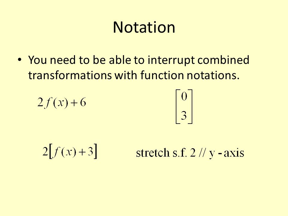 Notation You need to be able to interrupt combined transformations with function notations.