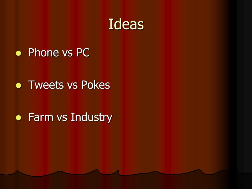 Ideas Phone vs PC Phone vs PC Tweets vs Pokes Tweets vs Pokes Farm vs Industry Farm vs Industry