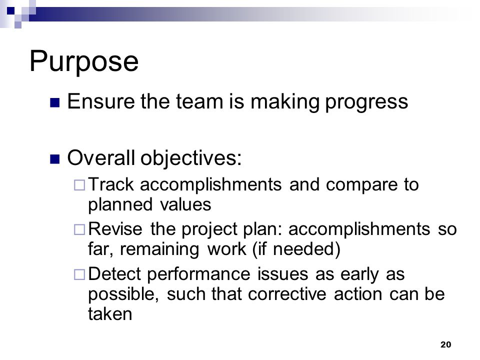 Purpose Ensure the team is making progress Overall objectives:  Track accomplishments and compare to planned values  Revise the project plan: accomp
