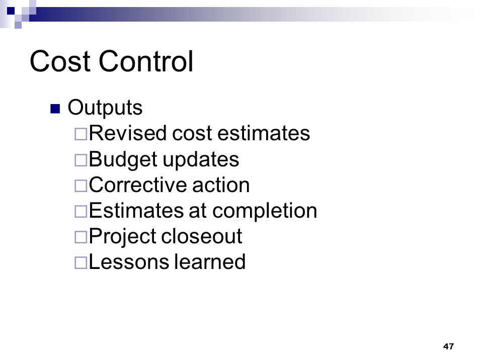 Cost Control Outputs  Revised cost estimates  Budget updates  Corrective action  Estimates at completion  Project closeout  Lessons learned 47