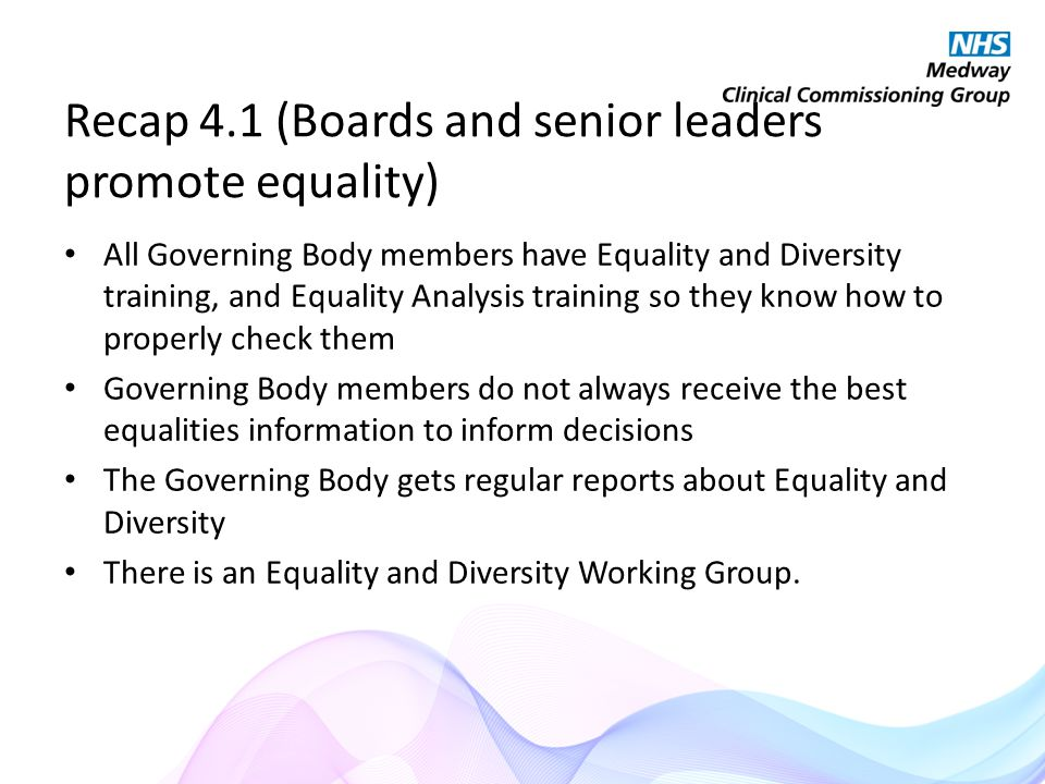 Recap 4.1 (Boards and senior leaders promote equality) All Governing Body members have Equality and Diversity training, and Equality Analysis training so they know how to properly check them Governing Body members do not always receive the best equalities information to inform decisions The Governing Body gets regular reports about Equality and Diversity There is an Equality and Diversity Working Group.