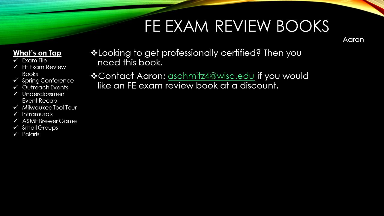 FE EXAM REVIEW BOOKS  Looking to get professionally certified.