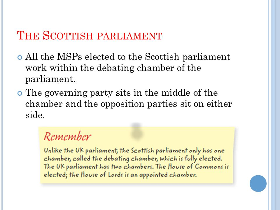 T HE S COTTISH PARLIAMENT All the MSPs elected to the Scottish parliament work within the debating chamber of the parliament.