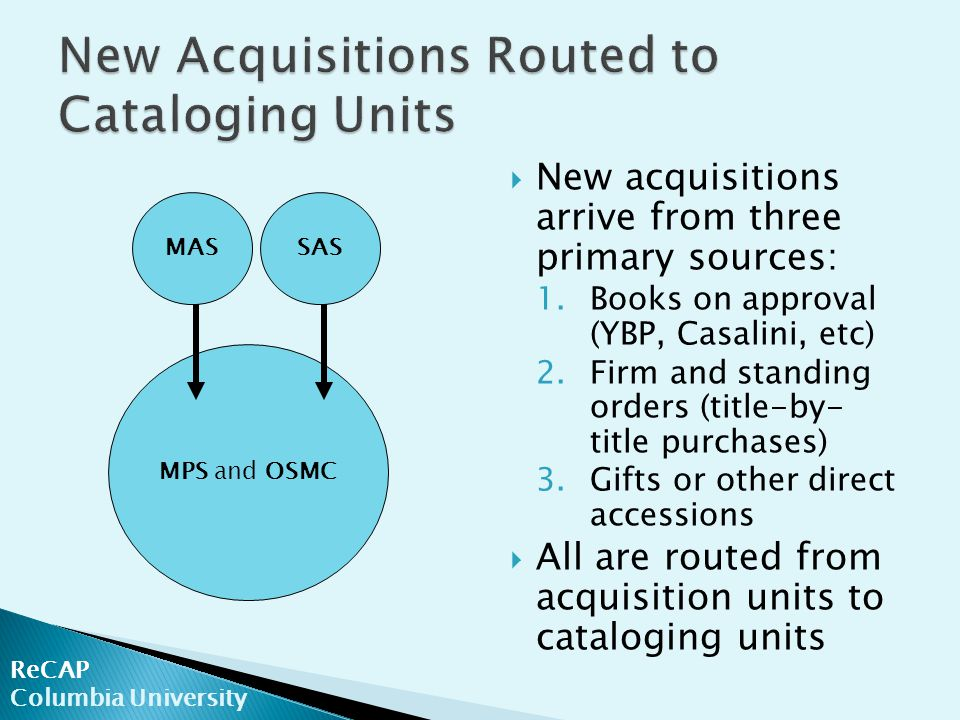  New acquisitions arrive from three primary sources: 1.Books on approval (YBP, Casalini, etc) 2.Firm and standing orders (title-by- title purchases) 3.Gifts or other direct accessions  All are routed from acquisition units to cataloging units ReCAP Columbia University MAS MPS and OSMC SAS