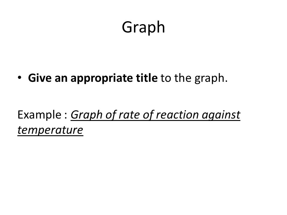 Give an appropriate title to the graph. Example : Graph of rate of reaction against temperature