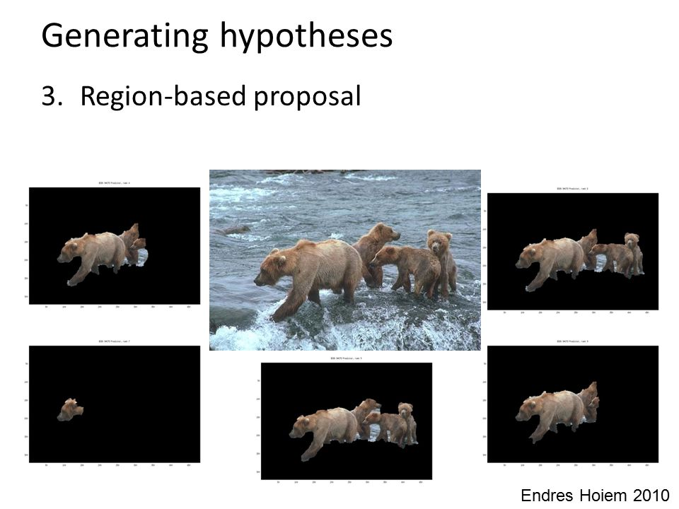 Generating hypotheses 3. Region-based proposal Endres Hoiem 2010