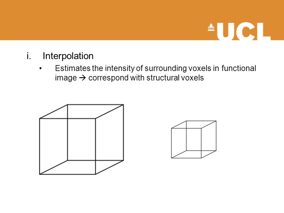 i.Interpolation Estimates the intensity of surrounding voxels in functional image  correspond with structural voxels