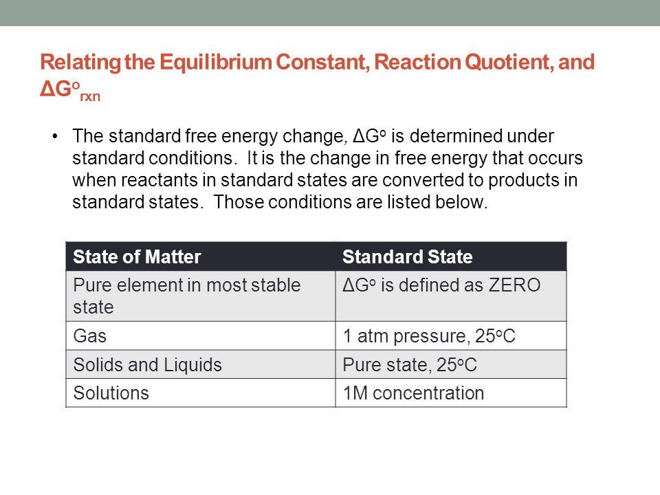 Relating the Equilibrium Constant, Reaction Quotient, and ΔG o rxn The standard free energy change, ΔG o is determined under standard conditions. It i