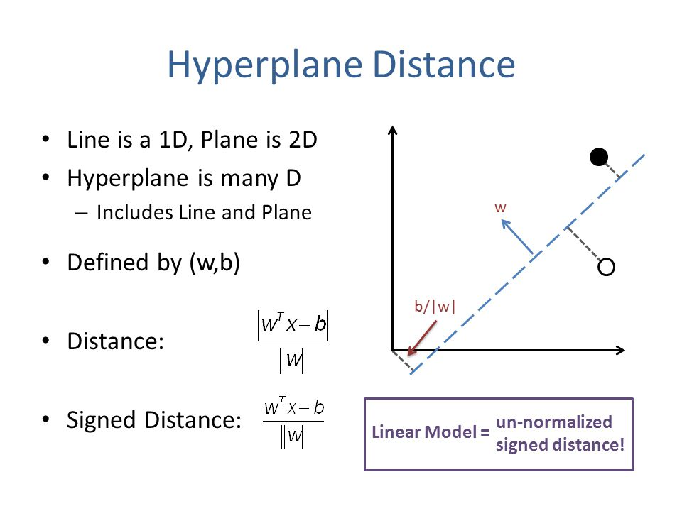 Line is a 1D, Plane is 2D Hyperplane is many D – Includes Line and Plane Defined by (w,b) Distance: Signed Distance: Hyperplane Distance w un-normalized signed distance.