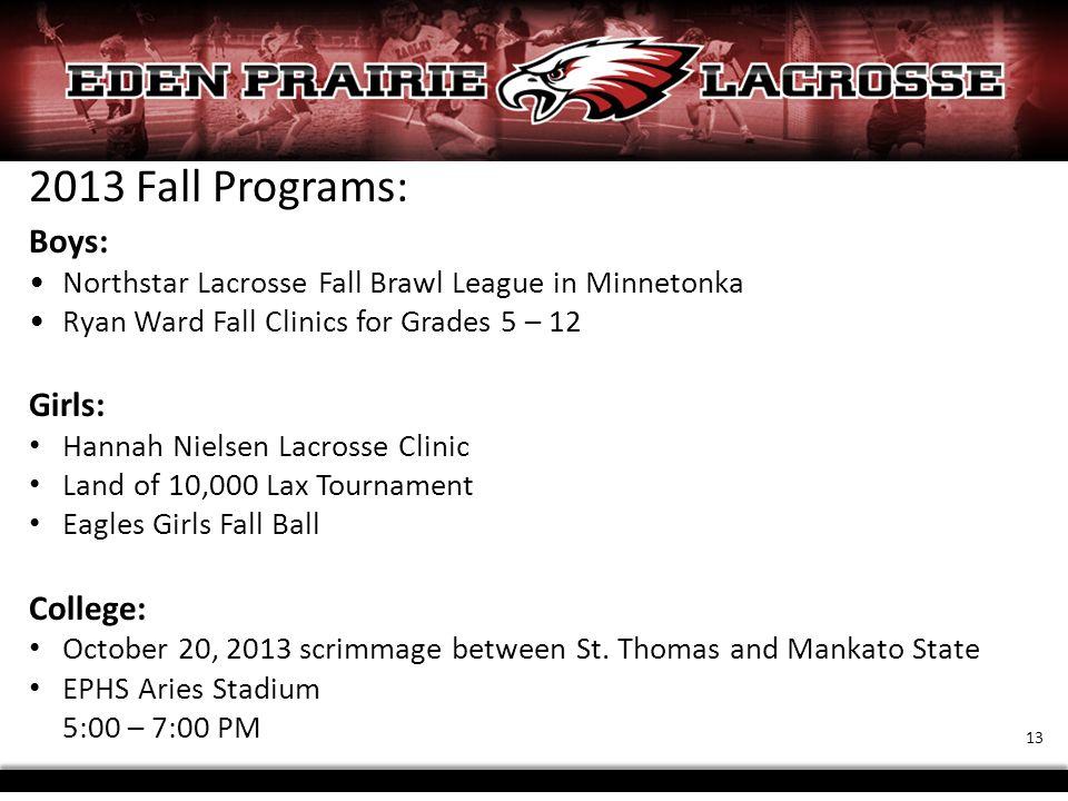 2013 Fall Programs: Boys: Northstar Lacrosse Fall Brawl League in Minnetonka Ryan Ward Fall Clinics for Grades 5 – 12 Girls: Hannah Nielsen Lacrosse C
