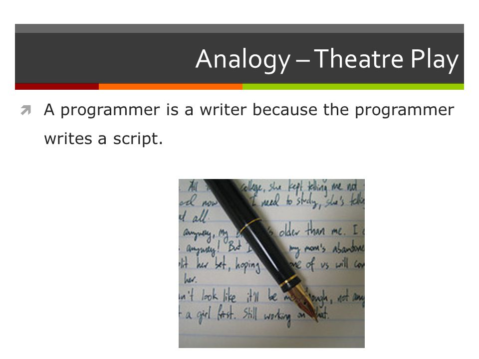 Analogy  The language of a theatre play is English.