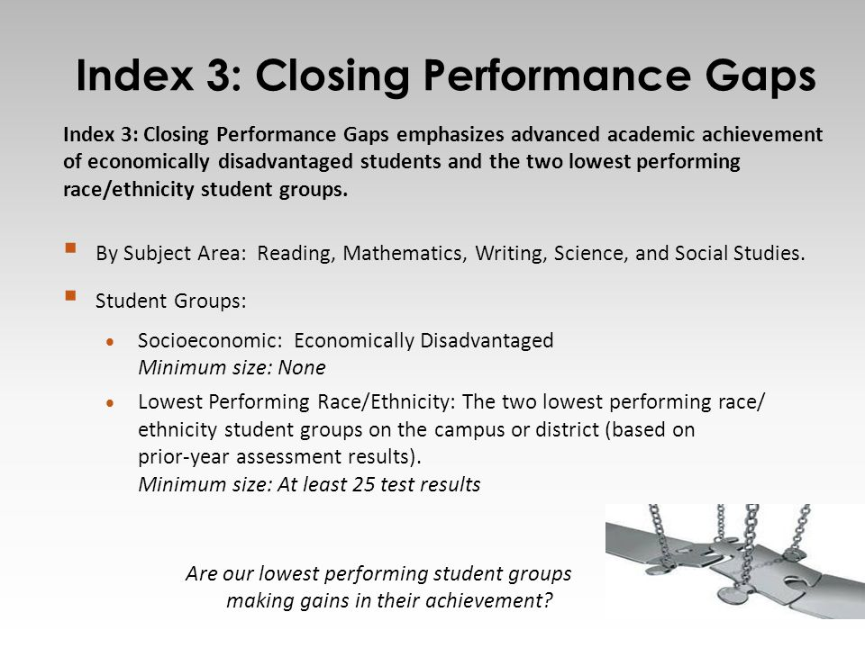 Index 3: Closing Performance Gaps 12 Index 3: Closing Performance Gaps emphasizes advanced academic achievement of economically disadvantaged students