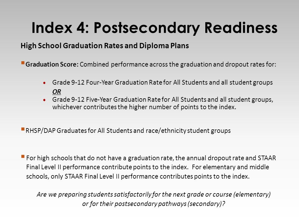 16 High School Graduation Rates and Diploma Plans  Graduation Score: Combined performance across the graduation and dropout rates for:  Grade 9-12 Four-Year Graduation Rate for All Students and all student groups OR  Grade 9-12 Five-Year Graduation Rate for All Students and all student groups, whichever contributes the higher number of points to the index.