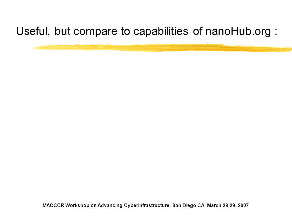 Useful, but compare to capabilities of nanoHub.org :