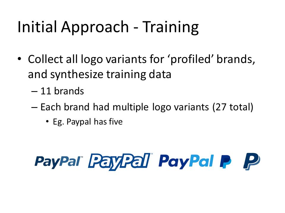 Initial Approach - Training Collect all logo variants for 'profiled' brands, and synthesize training data – 11 brands – Each brand had multiple logo variants (27 total) Eg.