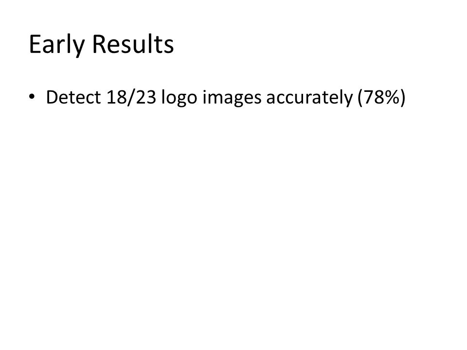 Early Results Detect 18/23 logo images accurately (78%)