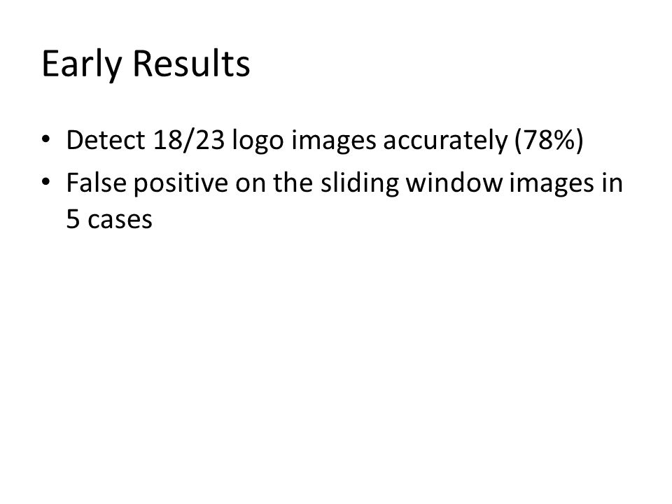 Early Results Detect 18/23 logo images accurately (78%) False positive on the sliding window images in 5 cases