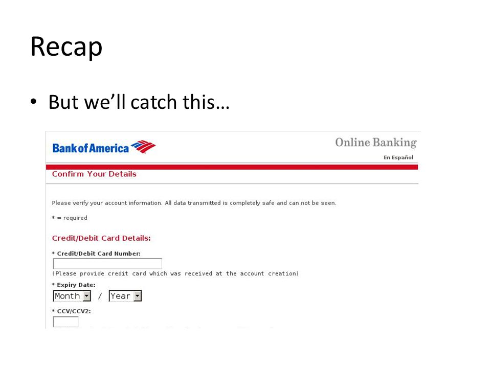 Recap But we'll catch this…