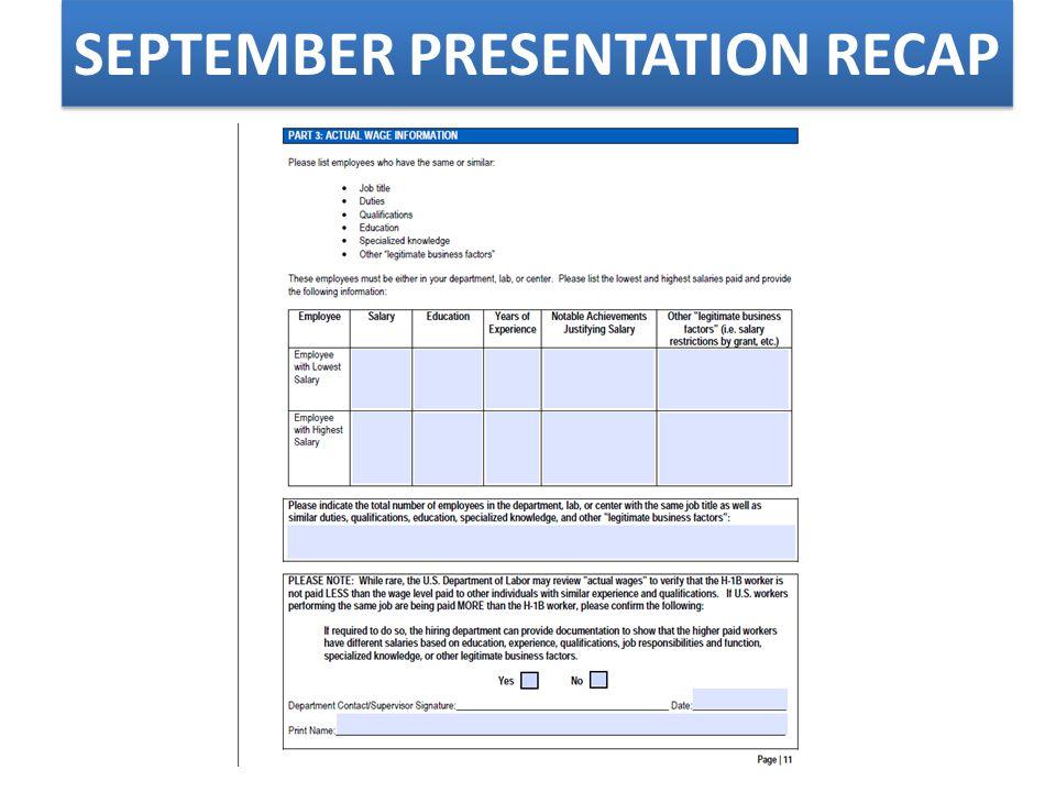 SEPTEMBER PRESENTATION RE-CAP