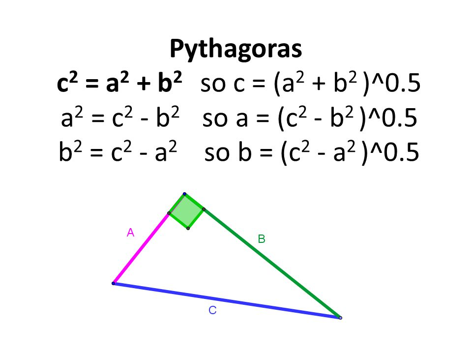 Pythagoras c 2 = a 2 + b 2 so c = (a 2 + b 2 )^0.5 a 2 = c 2 - b 2 so a = (c 2 - b 2 )^0.5 b 2 = c 2 - a 2 so b = (c 2 - a 2 )^0.5