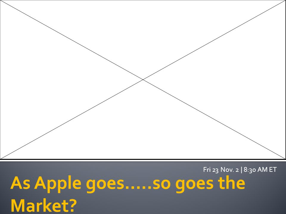 As Apple goes…..so goes the Market Fri 23 Nov. 2 | 8:30 AM ET