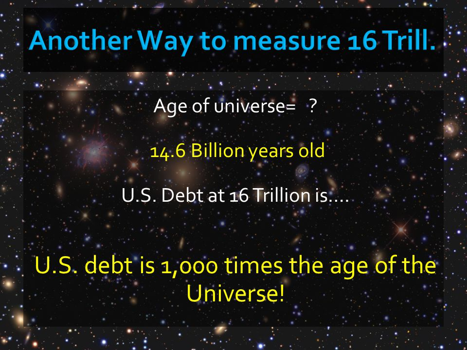 Age of universe= ? 14.6 Billion years old U.S. Debt at 16 Trillion is…. U.S. debt is 1,000 times the age of the Universe!