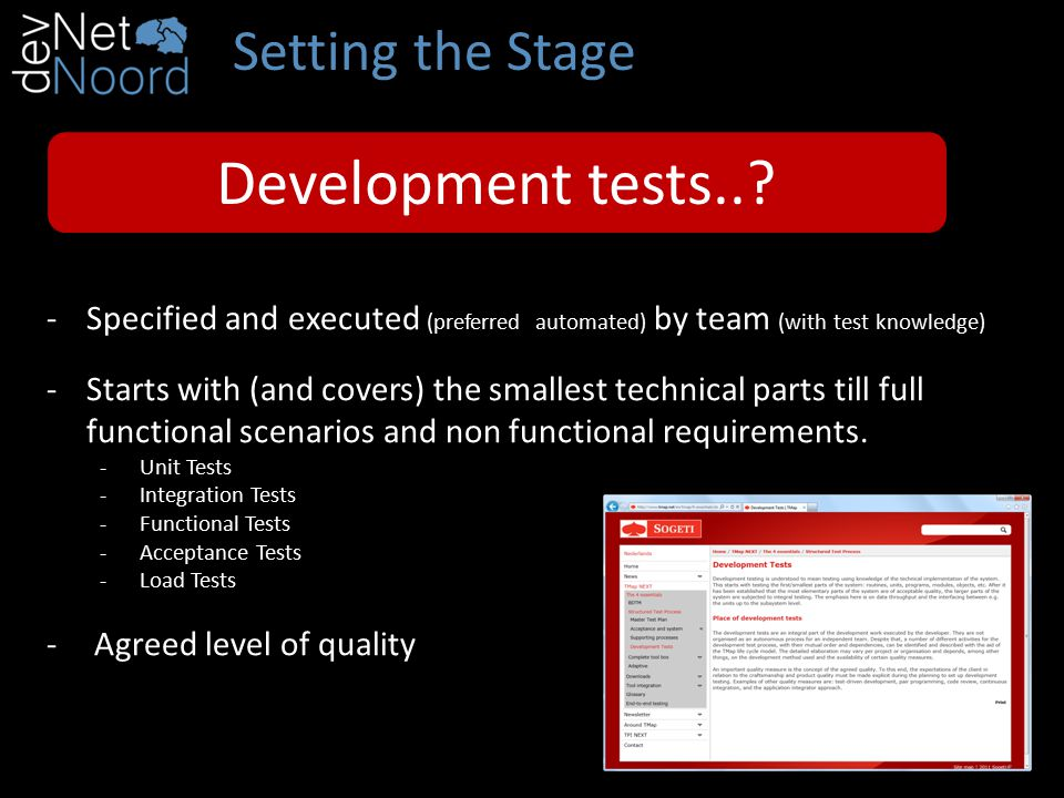 Setting the Stage Development tests...