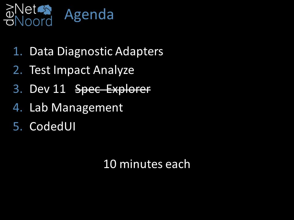 Agenda 1.Data Diagnostic Adapters 2.Test Impact Analyze 3.Dev 11 Spec Explorer 4.Lab Management 5.CodedUI 10 minutes each