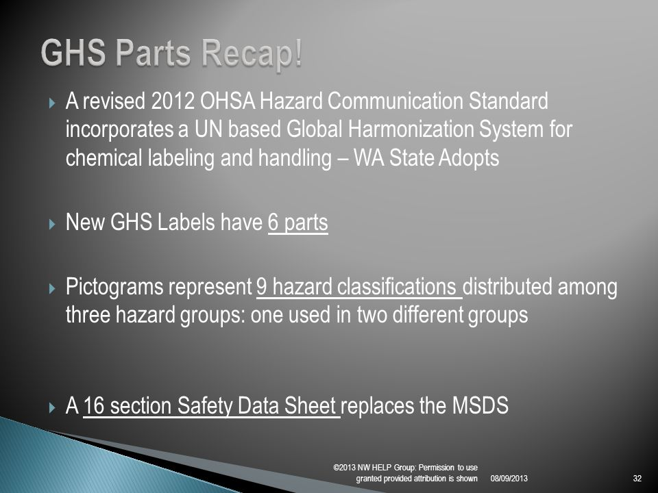  A revised 2012 OHSA Hazard Communication Standard incorporates a UN based Global Harmonization System for chemical labeling and handling – WA State Adopts  New GHS Labels have 6 parts  Pictograms represent 9 hazard classifications distributed among three hazard groups: one used in two different groups  A 16 section Safety Data Sheet replaces the MSDS 08/09/2013 ©2013 NW HELP Group: Permission to use granted provided attribution is shown32
