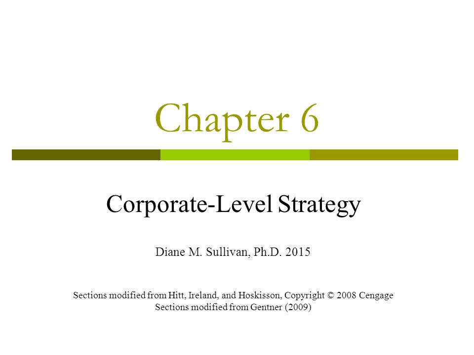 Chapter 6 Corporate-Level Strategy Diane M.Sullivan, Ph.D.