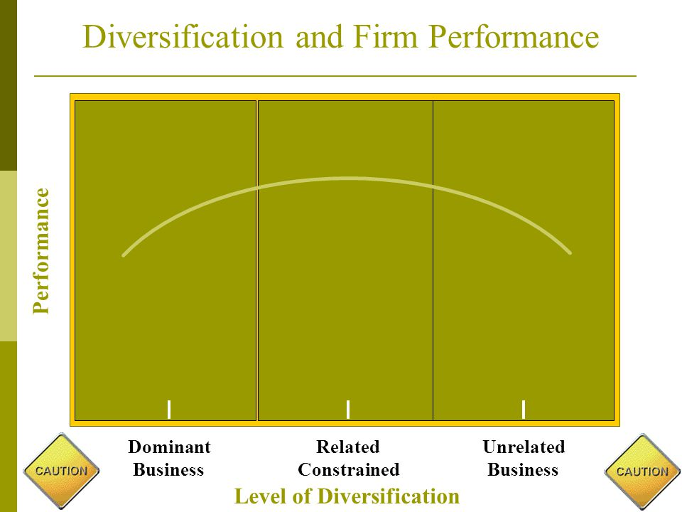 Level of Diversification Diversification and Firm Performance Performance Dominant Business Unrelated Business Related Constrained