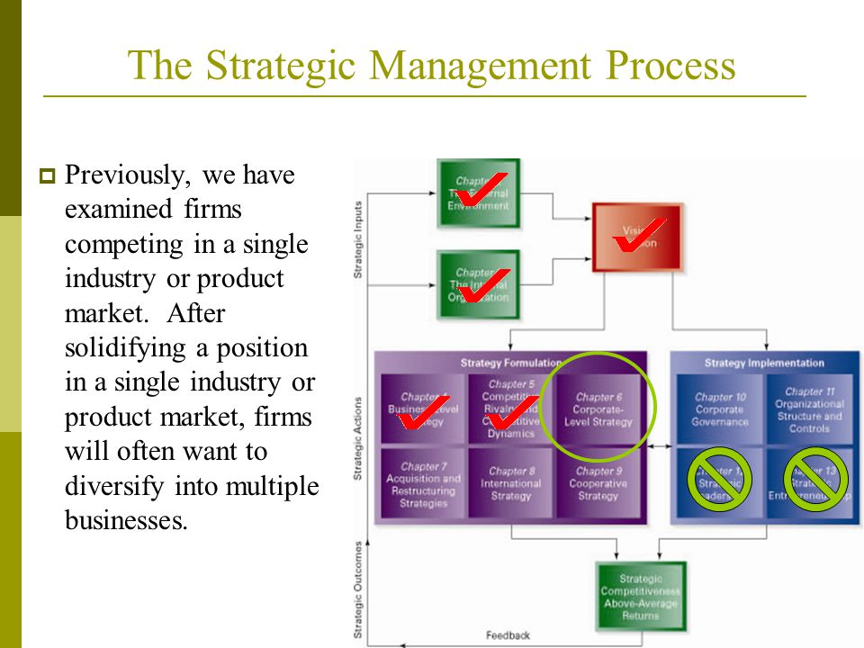 The Strategic Management Process Insert figure 1.1 graphic  Previously, we have examined firms competing in a single industry or product market.