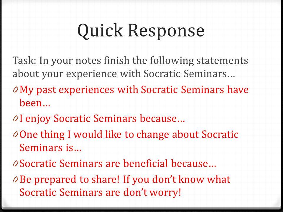 Socratic Seminar Prep What is a Socratic Seminar.