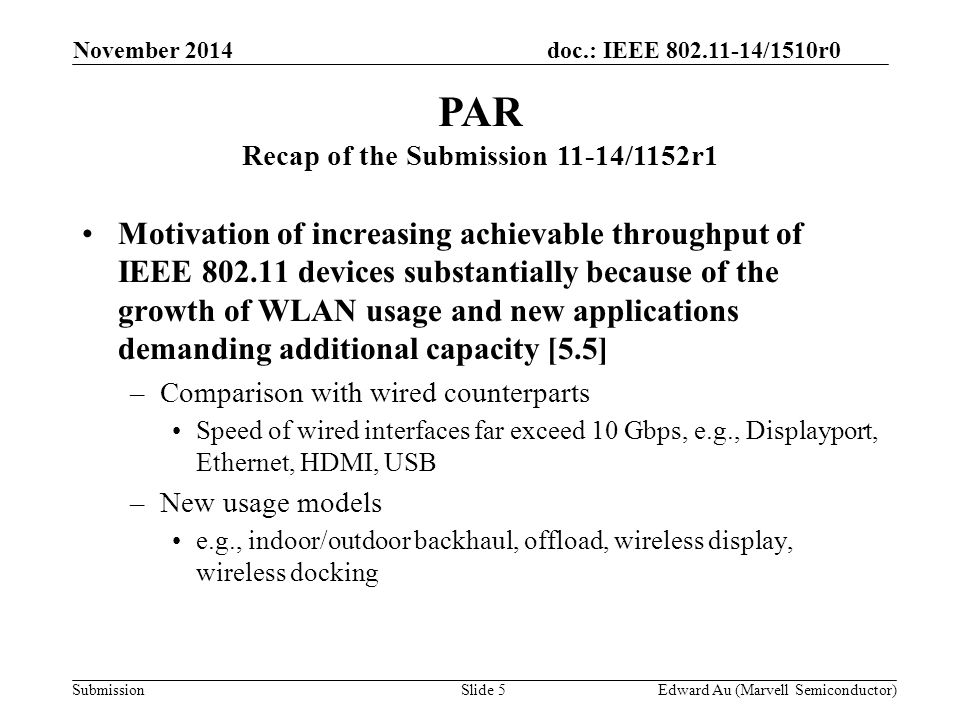 doc.: IEEE 802.11-14/1510r0 Submission Motivation of increasing achievable throughput of IEEE 802.11 devices substantially because of the growth of WL